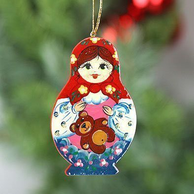 Russian Girl Wooden Ornament