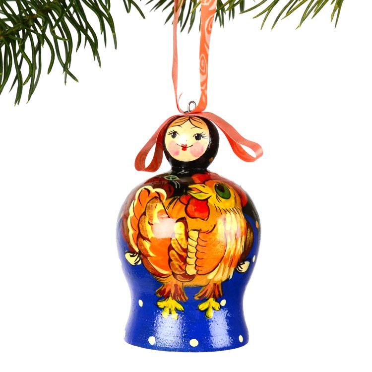 Girl with Rooster Bell Ornament