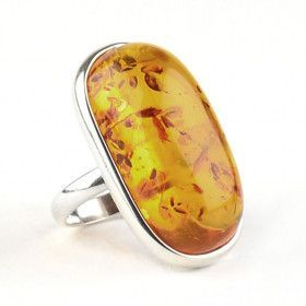 Baltic Honey Amber Silver Ring