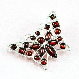 Amber Butterfly Brooch