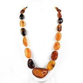 indonesian blue amber boho tribal surfer jewelry Macrame amber necklace wood 120 million year old fossil amber metal and glass beads