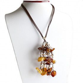 Amber & Silver Cluster Necklace