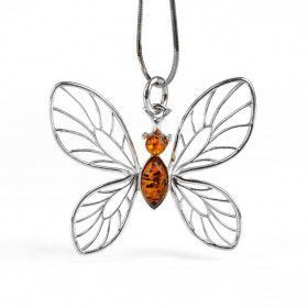 Silver Butterfly With Amber Pendant