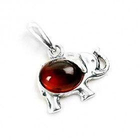 Amber in Silver Elephant Pendant