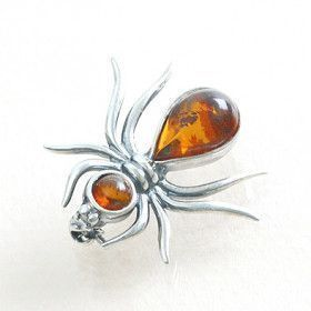 Ant Amber Silver Pin
