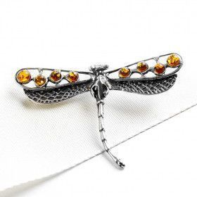 Amber Dragonfly Brooch or Pendant