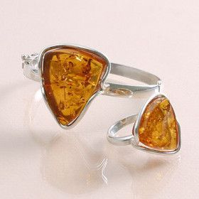 Amber Bracelet & Ring Jewelry Set