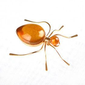 Golden Amber Ant Pin