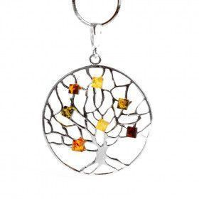 Life Tree Pendant With Amber