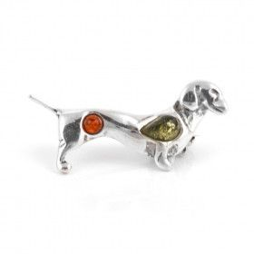 Amber Dachshund Dog Pin