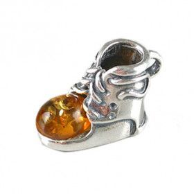 Amber Silver Baby Shoe Pendant