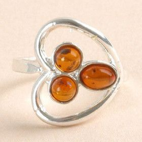 Tri-Stone Amber in Heart Ring