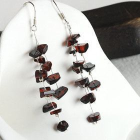 Cherry Amber Chips Earrings