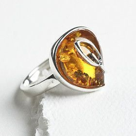 Honey Amber Drop Ring