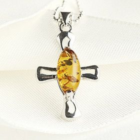 Simple and Elegant Amber Cross Pendant