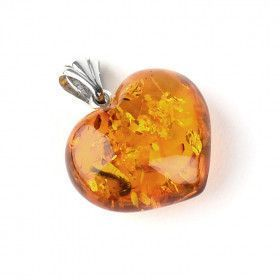 Classic Amber Honey Heart Pendant