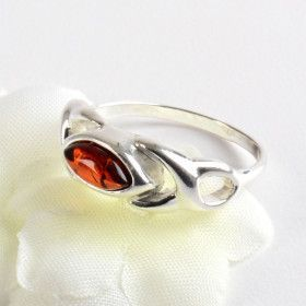 Amber Celtic Silver Ring