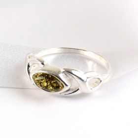 Green Amber Slice in Silver Ring