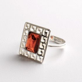 Square Greek Key Amber Ring