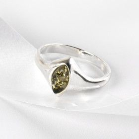 Elegant Silver Ring with Green Amber