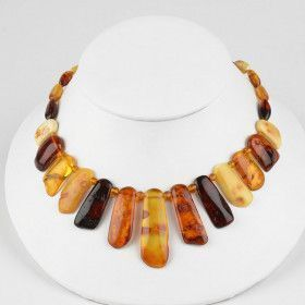 Multi-Colored Natural Look Amber Necklace