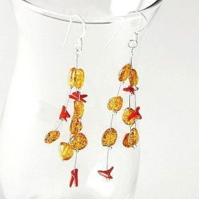 Amber and Coral Drops Earrings