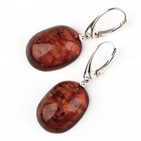Classic Ovals Cognac Amber Earrings