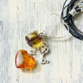 Multi-Strand Amber Charm Necklace