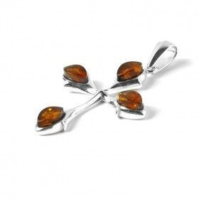 Honey Amber and Silver Cross Pendant