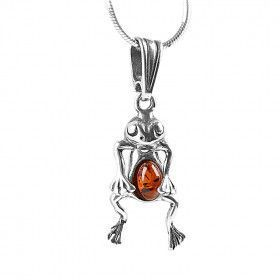 Silver and Amber Frog Pendant