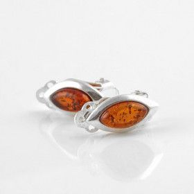 Tiny Honey Amber Clip-On Earrings