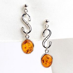 Unique Amber Drop Earrings