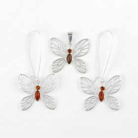 Honey Amber Butterfly Earrings and Pendant Set