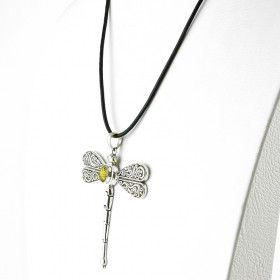 Large Silver Green Amber Dragonfly Necklace