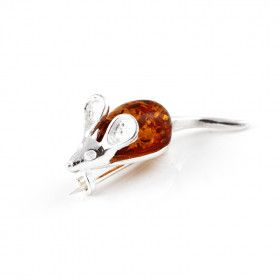 Adorable Mouse of Amber Brooch