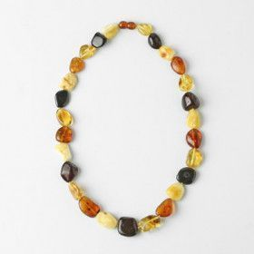 Multi-colored Amber Nugget Necklace