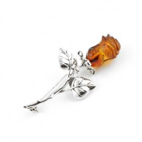 Rosebud of Honey Amber Brooch