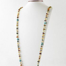 Super Long Amber and Turquoise Necklace