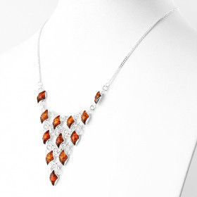 Silver Web Amber Necklace