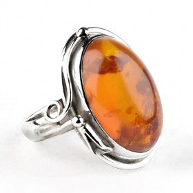 Honey Amber Elongated Oval Ring