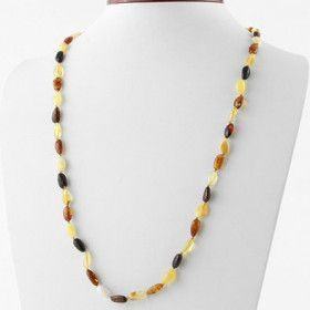 Multi-color Beaded Amber Necklace