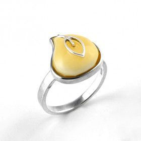Butterscotch Amber Teardrop with Silver Leaf Ring