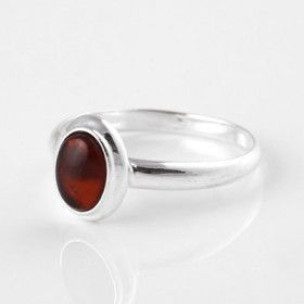 Simple Cognac Amber Oval Ring