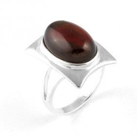 Oval Gets the Square Cherry Amber Ring