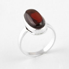 Simple & Classic Cherry Amber Oval Ring