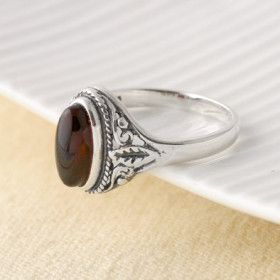 Classic Ornate Cherry Amber Ring