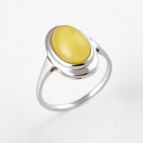 Elegant Oval Butterscotch Amber Ring