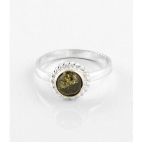 Small & Dainty Green Amber Ring