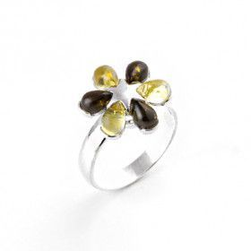 Fun Multi-color Amber Flower Ring