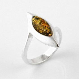 Glittering Green Amber Cocktail Ring